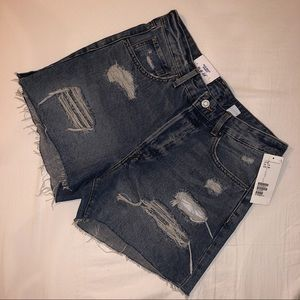 H&M denim high waisted distressed shorts